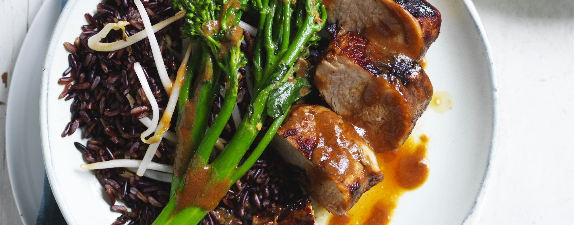 Miso Pork with Black Rice and Stir-Fried Greens